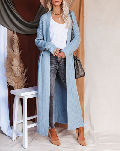 Gabi Knit Duster Cardigan - Slate Blue