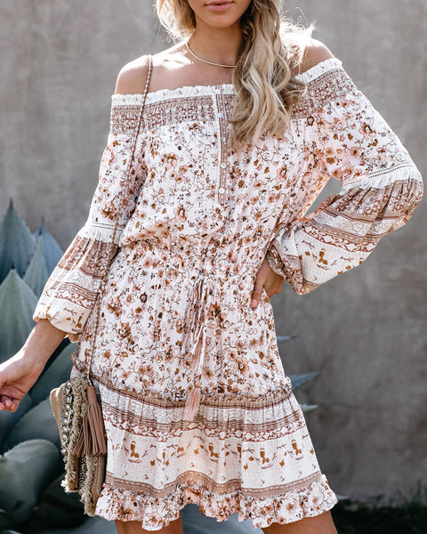 Gale Floral Off The Shoulder Ruffle Tiered Dress