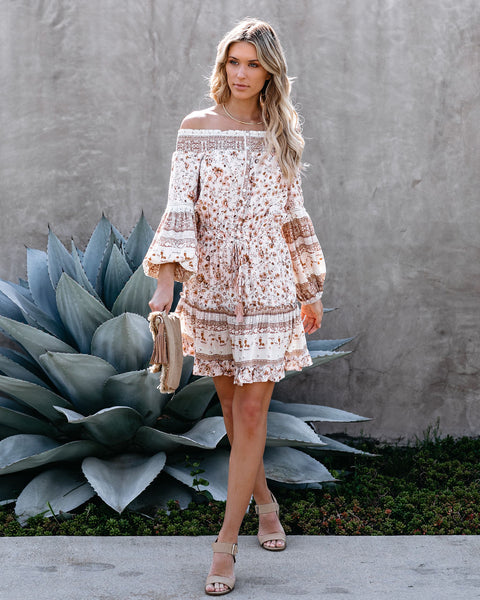 Gale Floral Off The Shoulder Ruffle Tiered Dress - FINAL SALE