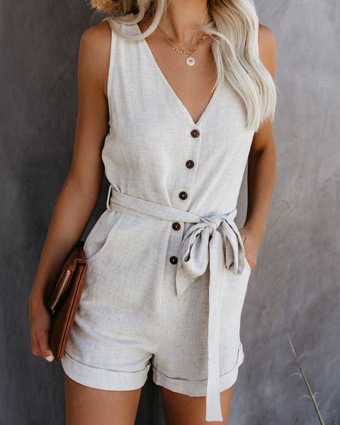 PREORDER - Garner Pocketed Button Down Tie Romper - Natural