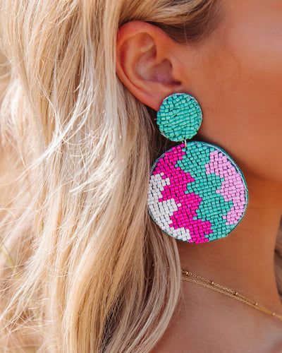 Gasparilla Beaded Statement Earrings - Aqua