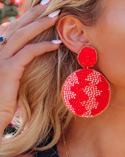 Gasparilla Beaded Statement Earrings - Coral