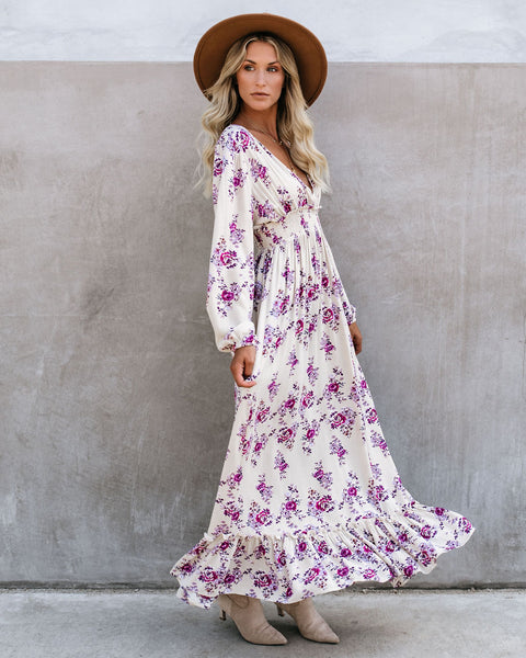 Gavin Long Sleeve Floral Smocked Maxi Dress