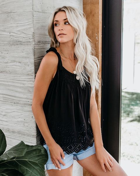 Gentle Breeze Cotton Eyelet Tie Tank - Black