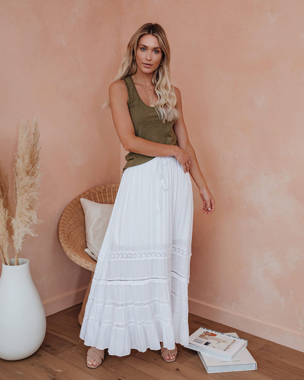 Georgia Heat Crochet Lace Tiered Maxi Skirt