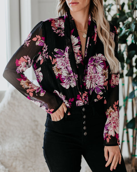 Get A Good Feeling Floral Drape Bodysuit- FINAL SALE