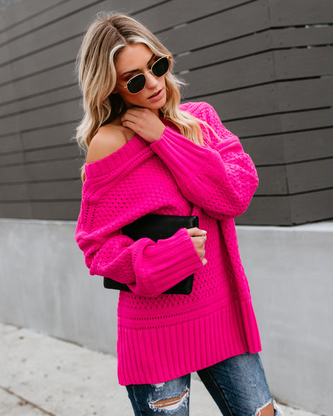 Get In The Spirit Off The Shoulder Knit Sweater - Hot Pink
