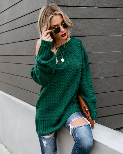 Get In The Spirit Off The Shoulder Knit Sweater - Hunter Green