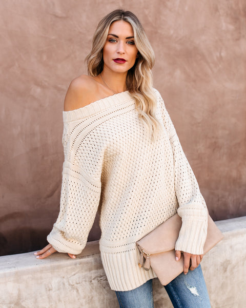 Get In The Spirit Off The Shoulder Knit Sweater - Oatmeal