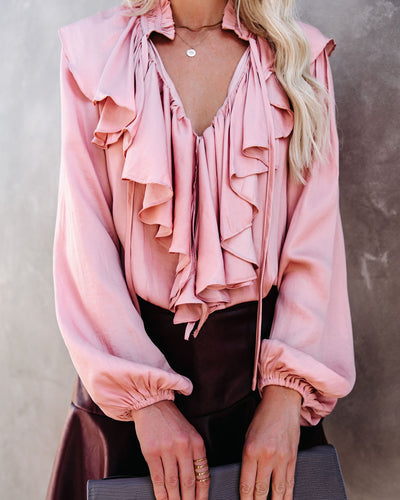 Get In Touch Satin Ruffle Blouse - Powder Rose