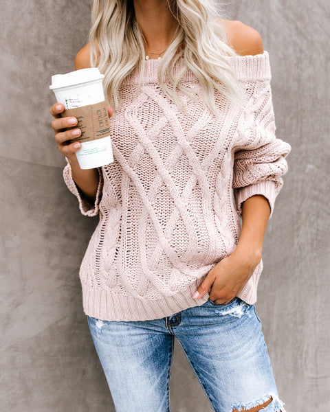 Get Together Off The Shoulder Sweater - Blush