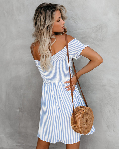 Get With The Lingo Striped Smocked Dress