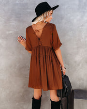 Giddy Pocketed Babydoll Dress - Golden Brown