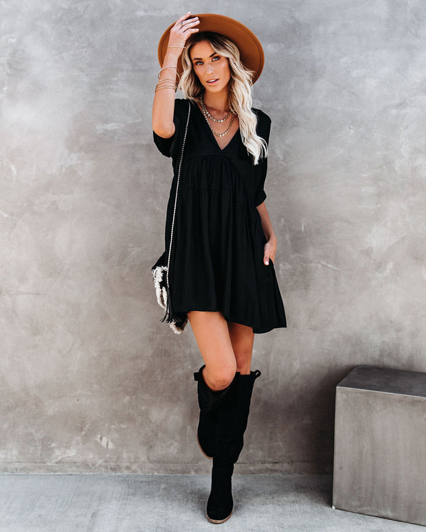 Giddy Pocketed Babydoll Dress - Washed Black