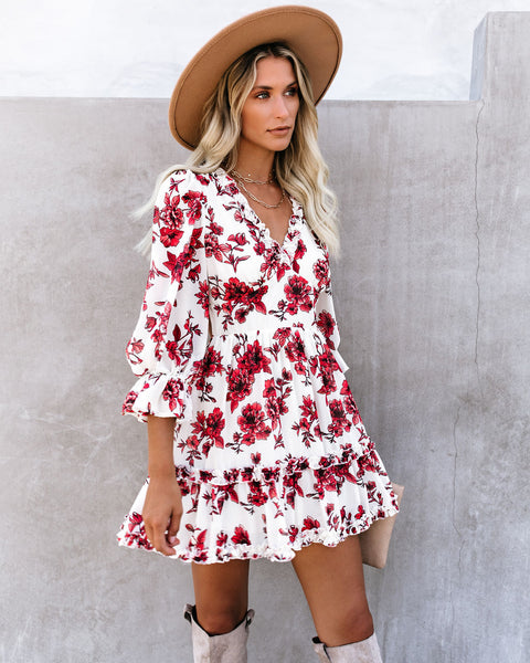 Giorgio Floral Backless Ruffle Dress