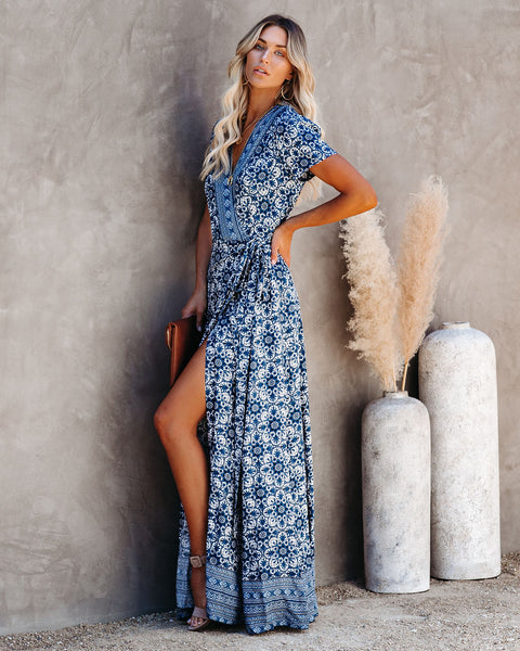 Giovanna Printed Wrap Maxi Dress