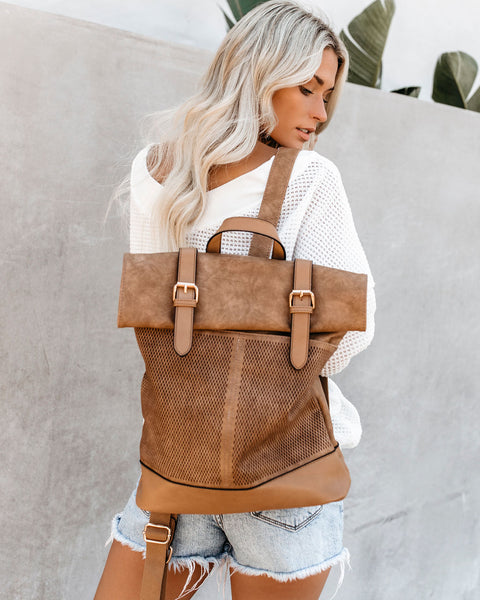 Girl On The Go Faux Leather Backpack - Taupe