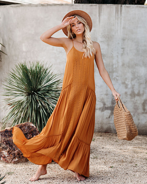 Girls Just Wanna Have Sun Crochet Tiered Maxi Dress