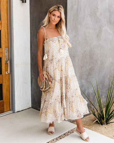 Gisele Cotton Floral Tiered Tassel Dress