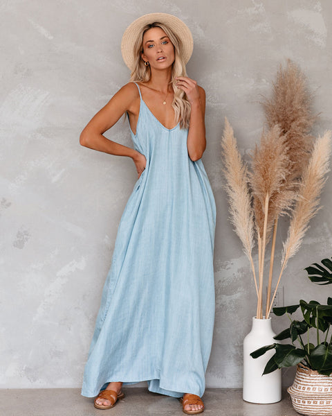 Giselle Tencel Pocketed Olivian Maxi Dress - Light Blue