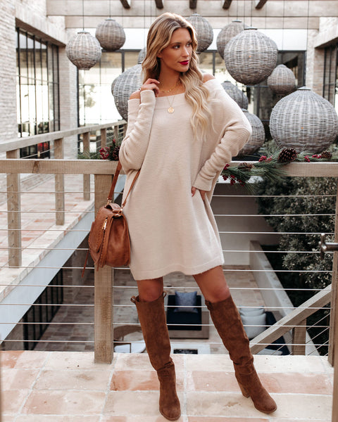 Give Thanks Off The Shoulder Sweater Dress - Oatmeal - FINAL SALE