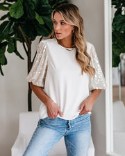 Give You Everything Sequin Puff Sleeve Top