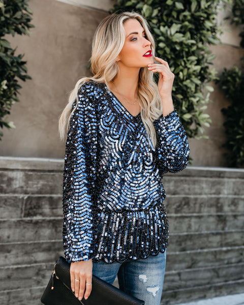 Glamorous Sequin Tunic - Navy - FINAL SALE