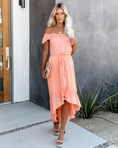 Glaze High Low Off The Shoulder Maxi Dress - Cantaloupe