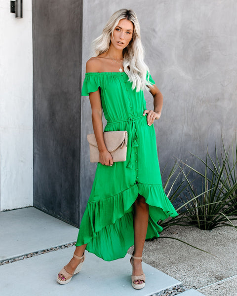 Glaze High Low Off The Shoulder Maxi Dress - Green