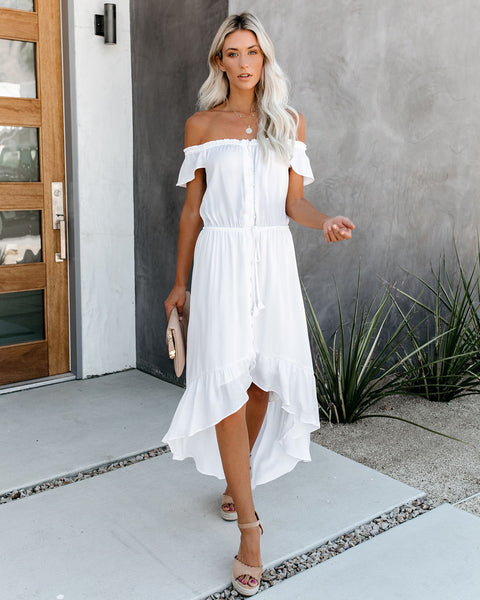 Glaze High Low Off The Shoulder Maxi Dress - Off White