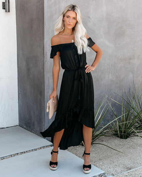 Glaze High Low Off The Shoulder Maxi Dress - Black