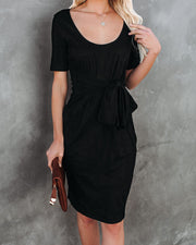 Glaze Ribbed Tie Front Midi Dress - Black