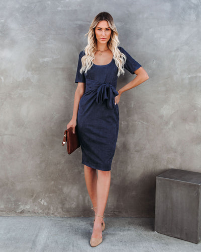 Glaze Ribbed Tie Front Midi Dress - Navy
