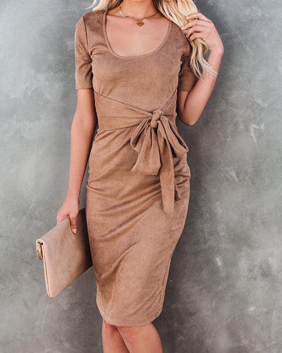 Glaze Ribbed Tie Front Midi Dress - Tan