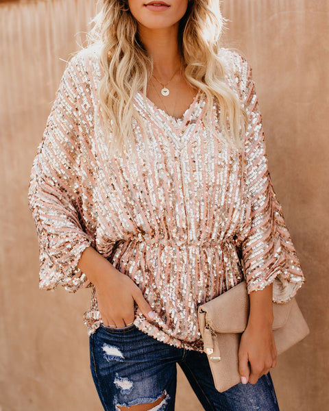 Glimmer Of Hope Sequin Tunic - Blush