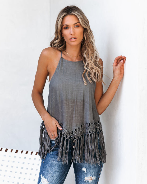 Global Girl Tassel Tank - Dark Grey