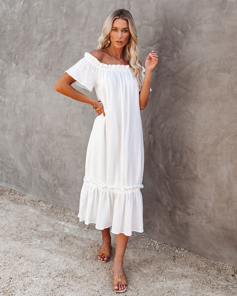 Glover Cotton Off The Shoulder Midi Dress