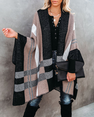 Glover Plaid Knit Poncho