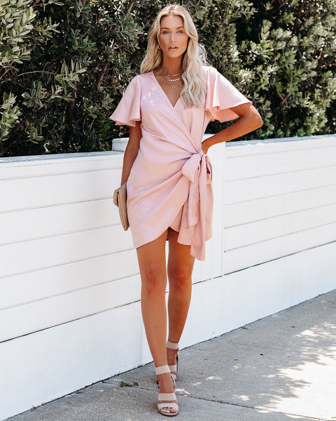 Glow Up Satin Wrap Dress - Blush