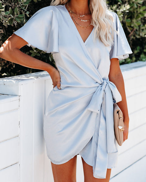 Glow Up Satin Wrap Dress - Ice Blue