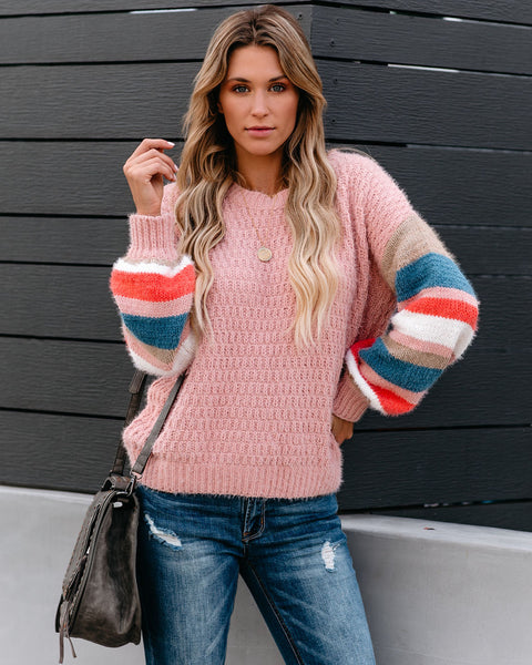 Gobble Gobble Striped Sleeve Knit Sweater - FINAL SALE
