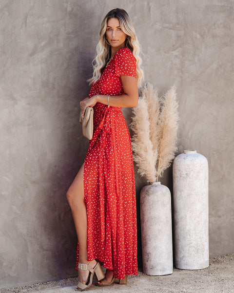 Golden Gate Printed Wrap Maxi Dress - Red