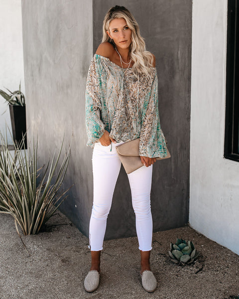 Golden Gaze Metallic Detailed Blouse - Turquoise - FINAL SALE