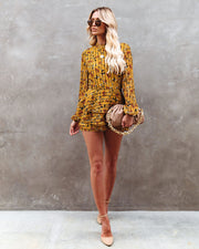 Golden Lotus Velvet Striped Floral Tiered Romper