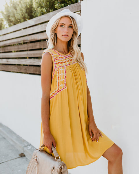 Golden View Embroidered Dress