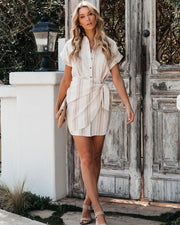 Goldie Cotton Striped Button Down Wrap Dress