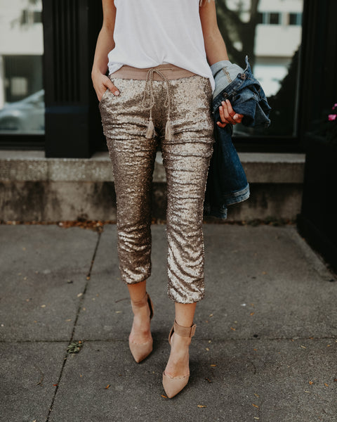 PREORDER - Sparks Fly Sequin Joggers - Rose Gold