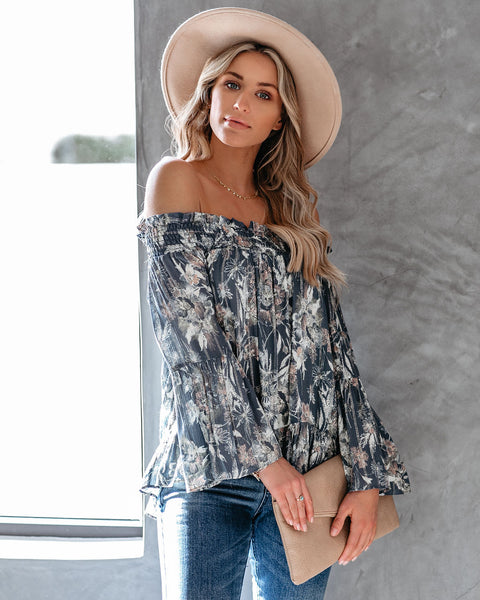 Gondolier Floral Smocked Off The Shoulder Blouse