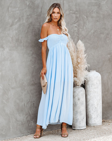 Gone To Heaven Smocked Off The Shoulder Maxi Dress
