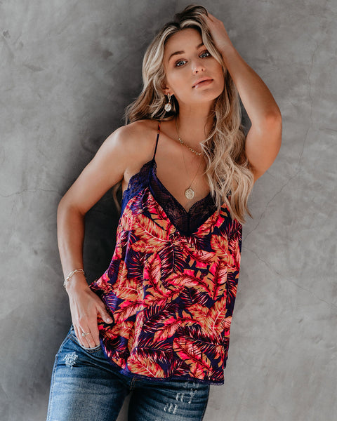Gone To Maui Palm Print Lace Cami Tank - FINAL SALE